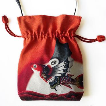 No.56 KSB★2WAY Shoulder Bag KINCHAKU 【Red butterfly fish of planet】【赤い游星の蝶魚】  [内ポケット+ビニールポーチ付]ご予約受付中
