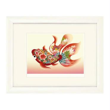 No.102★【金魚の夢】赤金魚ピンク 額装ジークレー版画(デジタルリトグラフ)