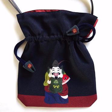 No.52 KSB-P★2WAY   Shoulder Bag KINCHAKU 【 EBISU】Lucky Charm seri【 恵比寿さん】「福結び」 [内ポケット無しビニールポーチ付]