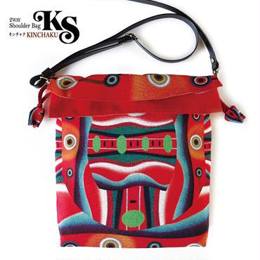 No.58 KSB★2WAY Shoulder Bag KINCHAKU【Red Face】巾着ショルダーバッグ【赤い顔】[内ポケット+ビニールポーチ付]