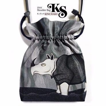 No.59 KSB★2WAY   Shoulder Bag KINCHAKU  【 Presence】巾着ショルダー 【 存在感 】   [内ポケット+ビニールポーチ付]