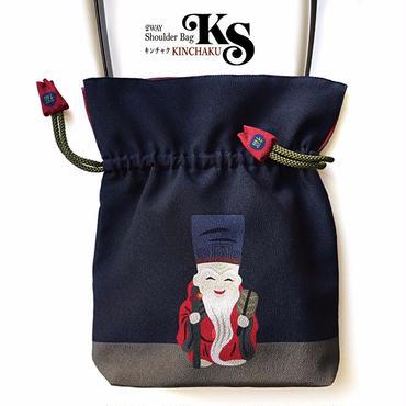 No.34 KSB★2WAY   Shoulder Bag KINCHAKU 【HUKUROKUJU 】巾着ショルダー バッグ【福禄寿さん】「福結び」[内ポケット+ビニールポーチ付]