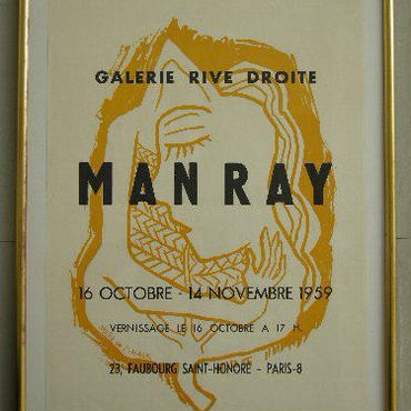 MAN RAY   マン・レイ 展覧会 オリジナル・リトグラフポスター1959年、パリの GALERIE RIVE DROITEでの展覧会ポス