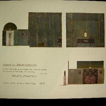 期末大処分!d:アール・デコ期の著名家具デザイナー、リュルマンのポショワール。1919年サロンドートンヌ出品案内 ::送料無料