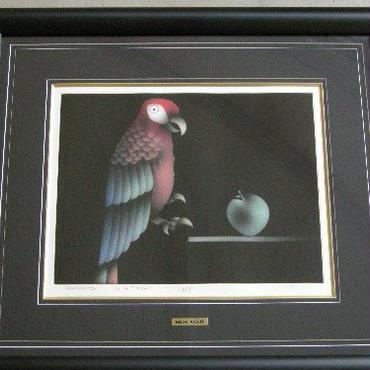 マリオ・アヴァチ  メゾチント  「陽気なオウムと青いリンゴ」  EA   自筆サイン  ニホン画廊保証書付