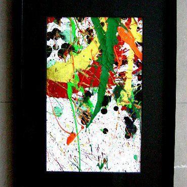 #7 人気現代アート作家・今井アレクサンドルの抽象、油彩      新品額入り