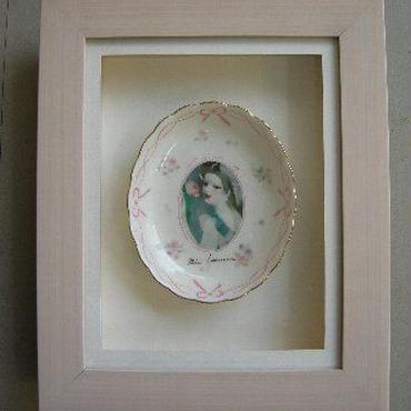 マリー・ローランサン  絵付け皿  本体サイズ 115-100㎜  立体額入り    : 売却済み