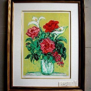 売却済み:Andre Cottavoz アンドレ・コタボ 「バラの花束」 リトグラフ  自筆サイン、  エディション