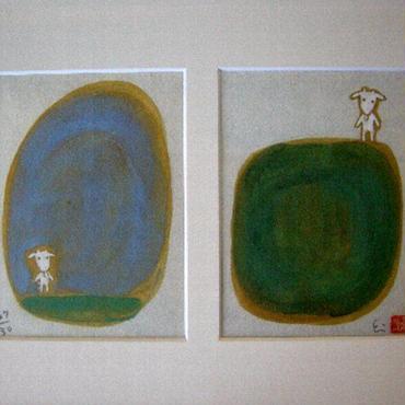 平松絵美の「やぎ」 ミクストメディア