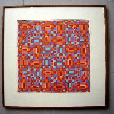 オノサトトシノブのシルクスクリーン {大型} 1967年制作 直筆鉛筆サイン、限定150部
