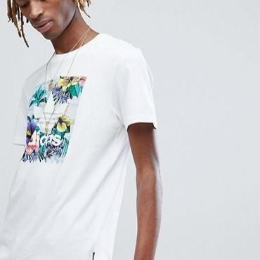 【送料無料 】adidas アディダス 花 柄 ロゴ Tシャツ 白