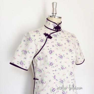 パープル系・薔薇のチャイナドレス