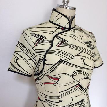 小紋のチャイナ・ドレス(着物リメイク)