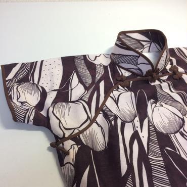 レトロチューリップのチャイナドレス(L)