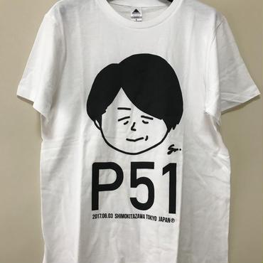 P青木生誕記念ポンコツTシャツ新作「P51」(NEW/ホワイトBIGプリント版)