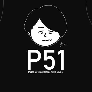 P青木生誕記念ポンコツTシャツ新作「P51」(NEW/ブラック通常プリント版)