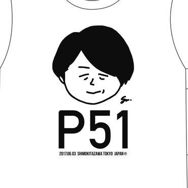 P青木生誕記念ポンコツTシャツ新作「P51」(NEW/ホワイト通常プリント版)