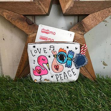 フラミンゴ&コウノトリ刺繍コインカードケース(ポーチ)