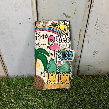 ハワイアンコウノトリ刺繍スマホケース(iPhone6Plus/6sPlus、7Plus用)