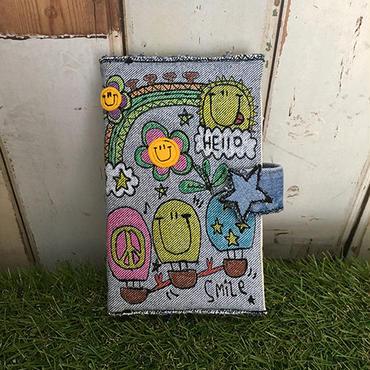 デニム刺繍手帳&手帳カバー(B6バイブルサイズ)