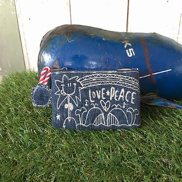 デニムクジラ刺繍コインケース(ポーチ)