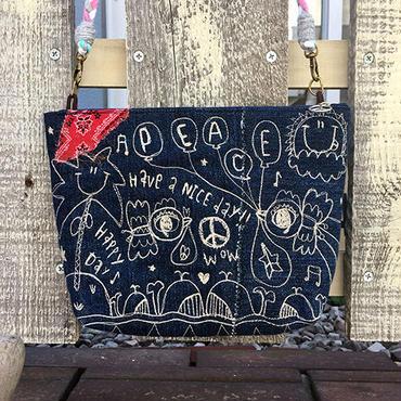 クジラ&コウノトリ刺繍デニムショルダー