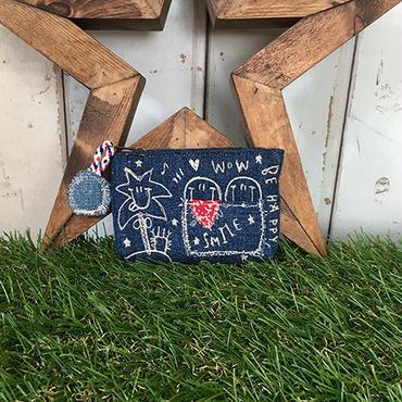 ひょっこりスマイル&ヤシの木刺繍コインケース(ポーチ)