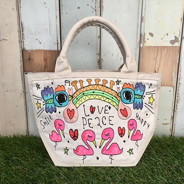 フラミンゴ&コウノトリ刺繍ミニトート