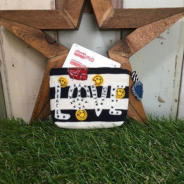 ボーダーロゴワッペン刺繍コインカードケース(ポーチ)