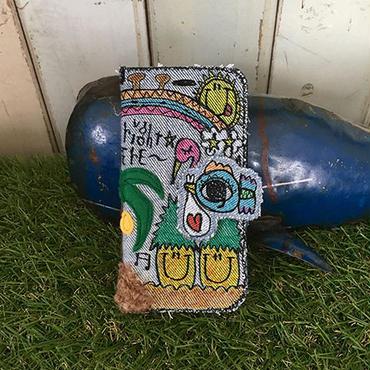 ハワイアンコウノトリ刺繍スマホケースデニムVer.(iPhone6/6s,7用)