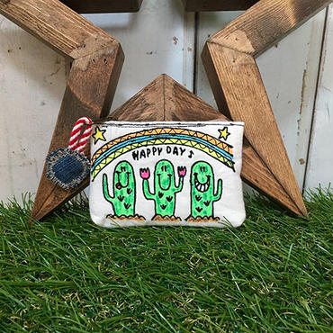 サボテン&レインボー刺繍コインケース(ポーチ)