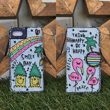 フラミンゴ&パイナップル刺繍デニムスマホケース(iPhone6/6s,7/8,X用)  のコピー