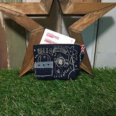 ひょっこりスマイル刺繍デニムコインカードケース(ポーチ)