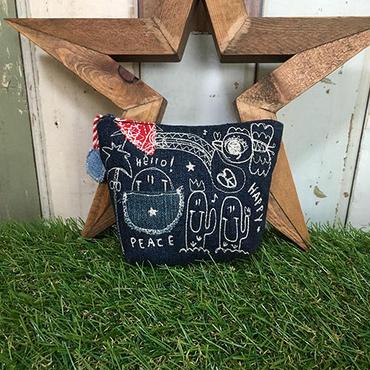 コウノトリ&サボテン刺繍デニムマチ付きポーチ