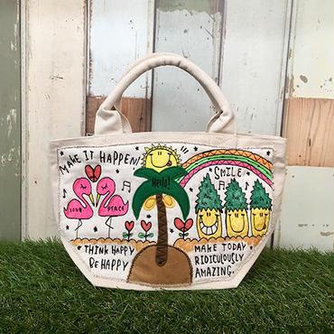 フラミンゴ&パイナップル刺繍ミニトート