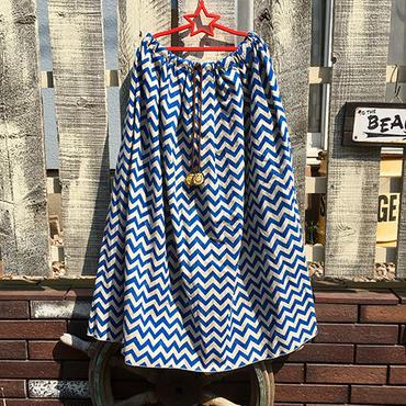 ギザギザwaveボーダースカート(ブルー)