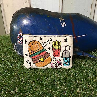 ハンバーガーセットスマイル刺繍コインケース(ポーチ)