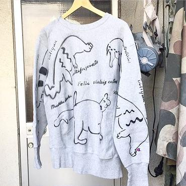 【on champion】OMA overdrawing sweatshirt 53 legal copy , stencil Ver, 動物アソート|animal assort