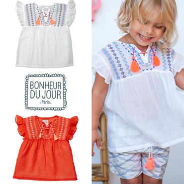 BONHEUR DU JOUR パリの子供服 刺繍入りブラウス(17007)