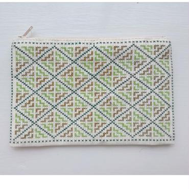 ラオス モン族の手刺繍ミニァスナーポーチ(クロスステッチ)