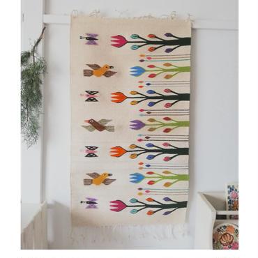 メキシコ オアハカの織物 ティオティトランの羊毛タペテ 鳥と花 (60×102cm)  のコピー