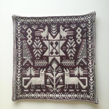 ヤノフ村の織物 クッションカバー 鳥とキツネと幾何学模様(38×40cm)#2011
