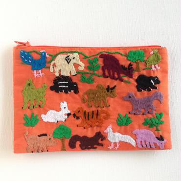 ラオス モン族の手刺繍ミニファスナーポーチ 動物の楽園(オレンジ)07