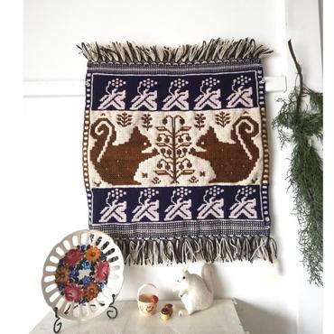 ヤノフ村の織物 タペストリー 向かい合うリス(45×45cm) #2355