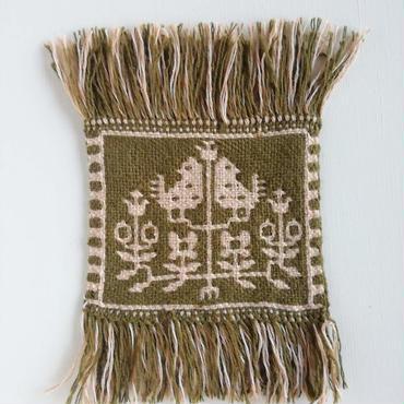 ヤノフ村の織物 コースター 鳥と花(14×12cm)