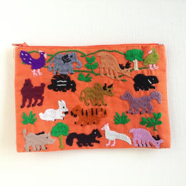 ラオス モン族の手刺繍ミニファスナーポーチ 動物の楽園(オレンジ)06
