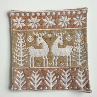 ヤノフ村の織物 クッションカバー 鹿と森(37×37cm) #2150