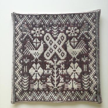 ヤノフ村の織物 クッションカバー 鳥と花と幾何学模様(39×40cm)#2012