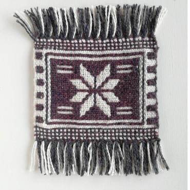 ヤノフ村の織物 幾何学模様 茶(16×13cm)