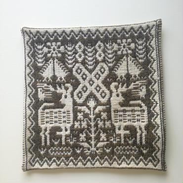 ヤノフ村の織物 クッションカバー 鹿と植物模様(38×40cm)#2014
